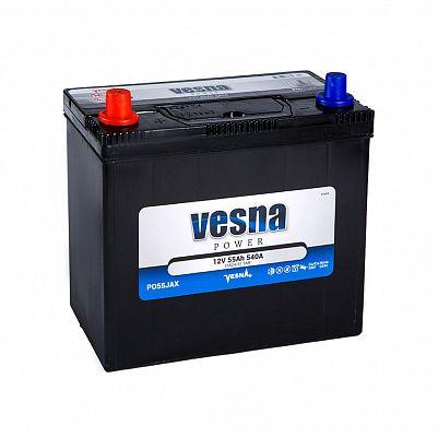 Автомобильный аккумулятор VESNA Power 55 (B24R) с перех фото 401x401