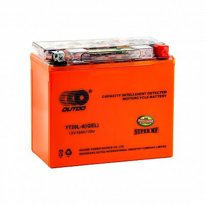 Мото аккумулятор 18Ah OUTDO YT20L-4 GEL (20Ah) фото 401x401