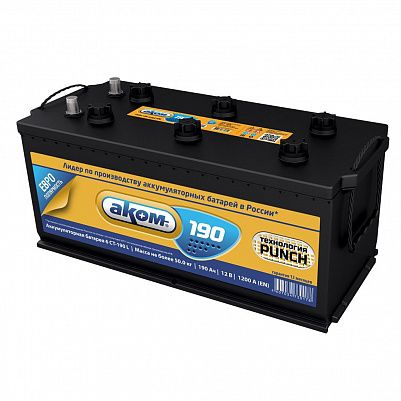Аккумулятор для грузовиков Аком 190.3 евро конус фото 401x401